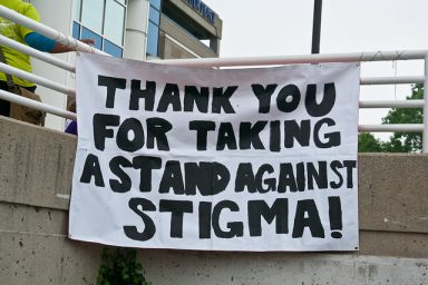 A sign that says thank you for taking a stand against stigma that was made by someone that does not believe mental health myths