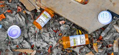 An image of pill bottles that were discarded after snorting pills